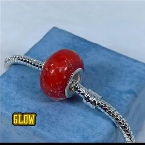 Red glow in the dark Murano glass charm bead